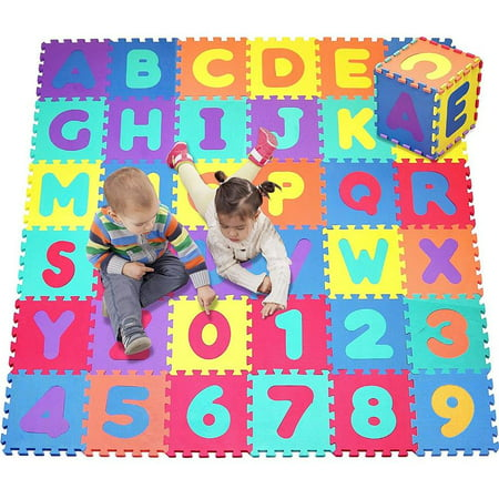 Alphabet Foam Storage - Click N' Play, Alphabet and Numbers Foam Puzzle Play Mat, 36 Tiles (Each Tile Measures 12 X 12 Inch for a Total Coverage of 36 Square Feet)