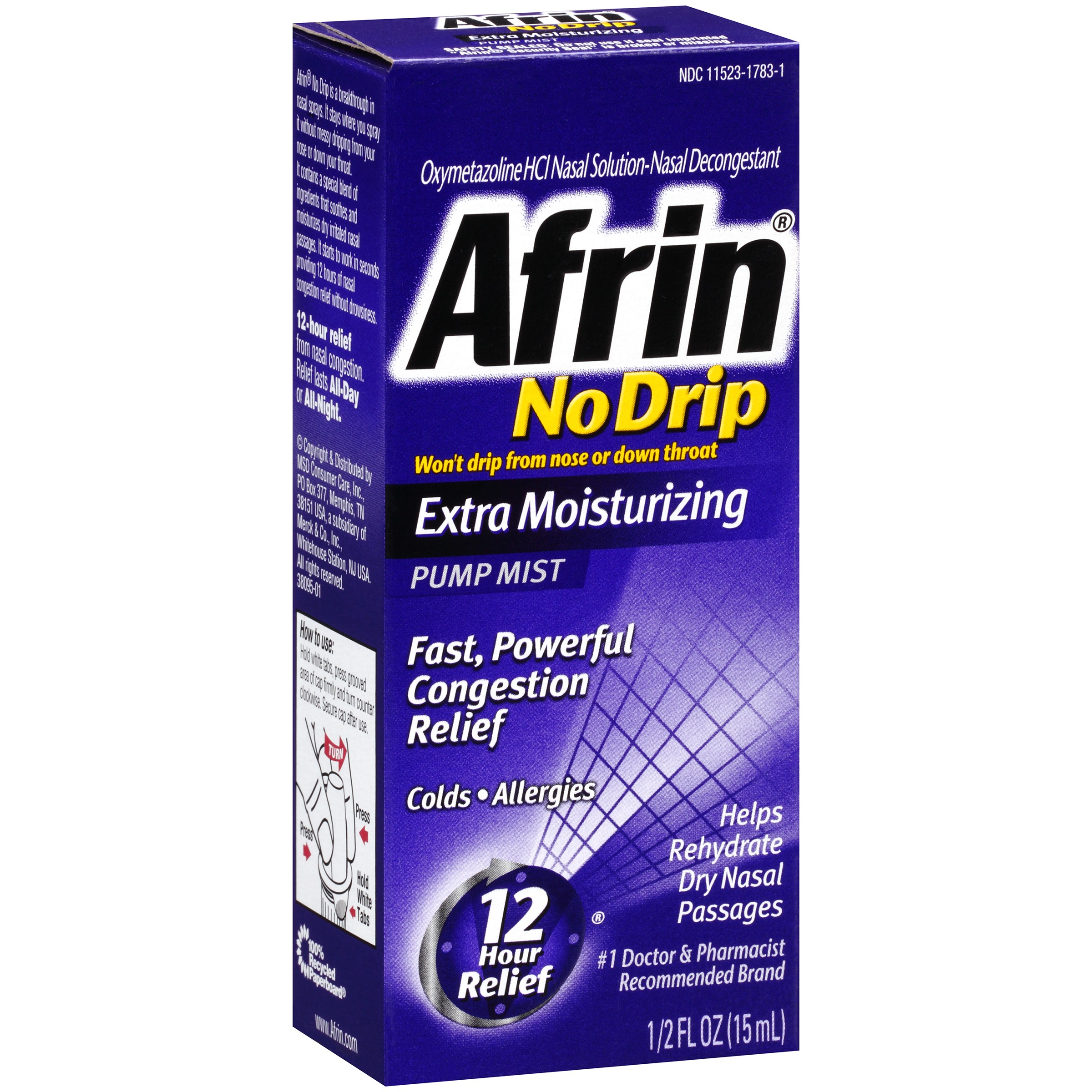 Image of Afrin ® No Drip Extra Moisturizing Nasal Decongestant Pump Mist 0.5 fl. oz. Box