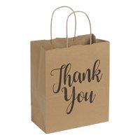 "Medium Kraft Thank You Paper Shopping Bags - 8""L x 4¾""D x 10¼""H - Case of 100"