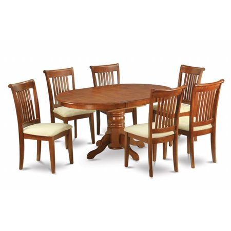 East West Furniture AVPO5-SBR-C 5PC Oval Dining Set with Single Pedestal with 18 in. leaf Table and 4 Cushioned seat chairs