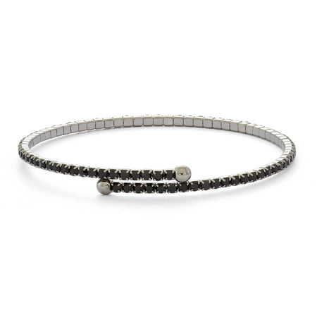 X & O Black Rhodium Plated Single Row Flex Bangle with Crystals in Jet