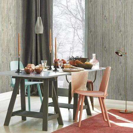 RoomMates Grey Mushroom Wood Peel & Stick Wallpaper
