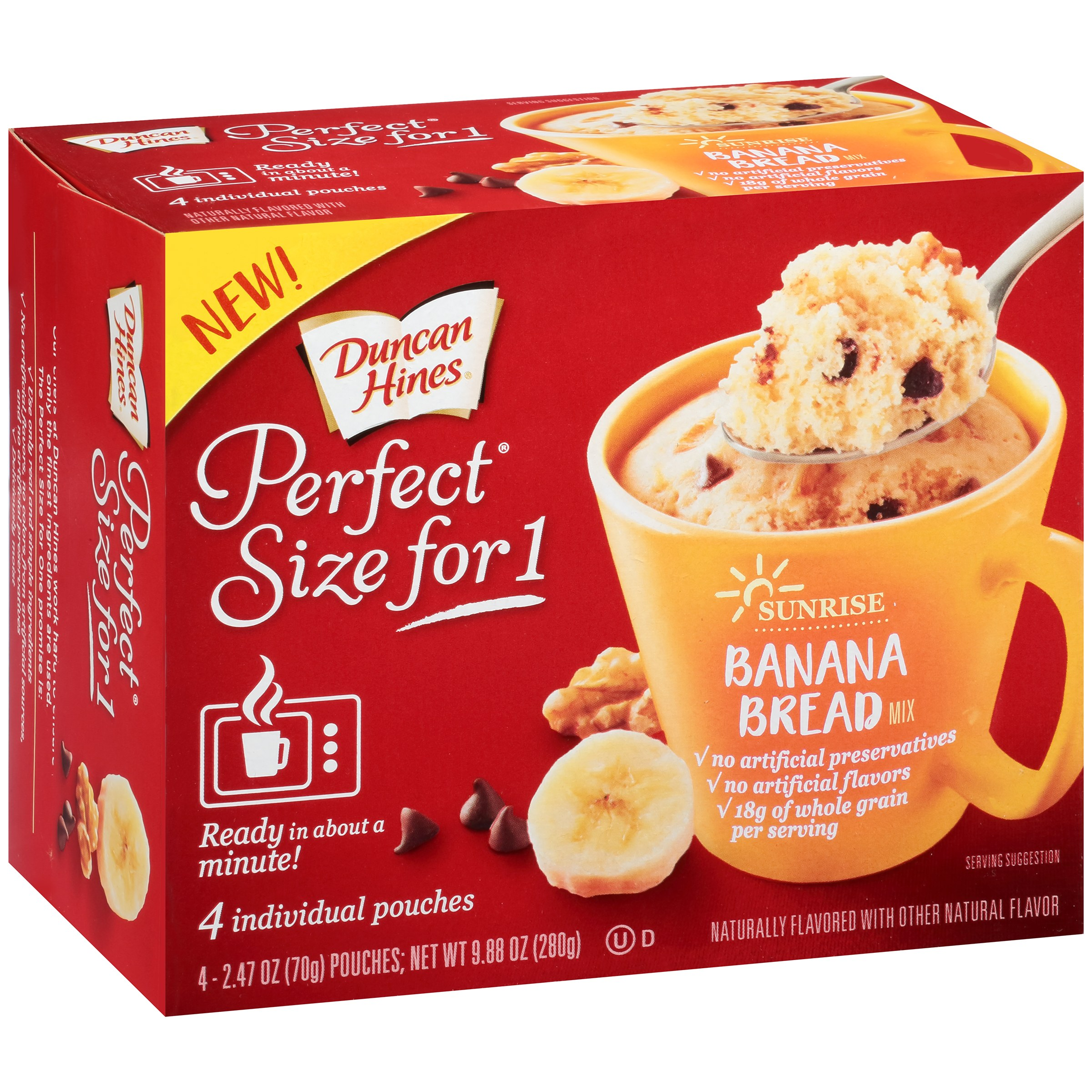 Duncan Hines Perfect Size for 1 Sunrise Banana Bread Mix 4 ct Box by Pinnacle Foods Group LLC