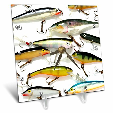 3dRose Fly fishing Lures, Desk Clock, 6 by 6-inch