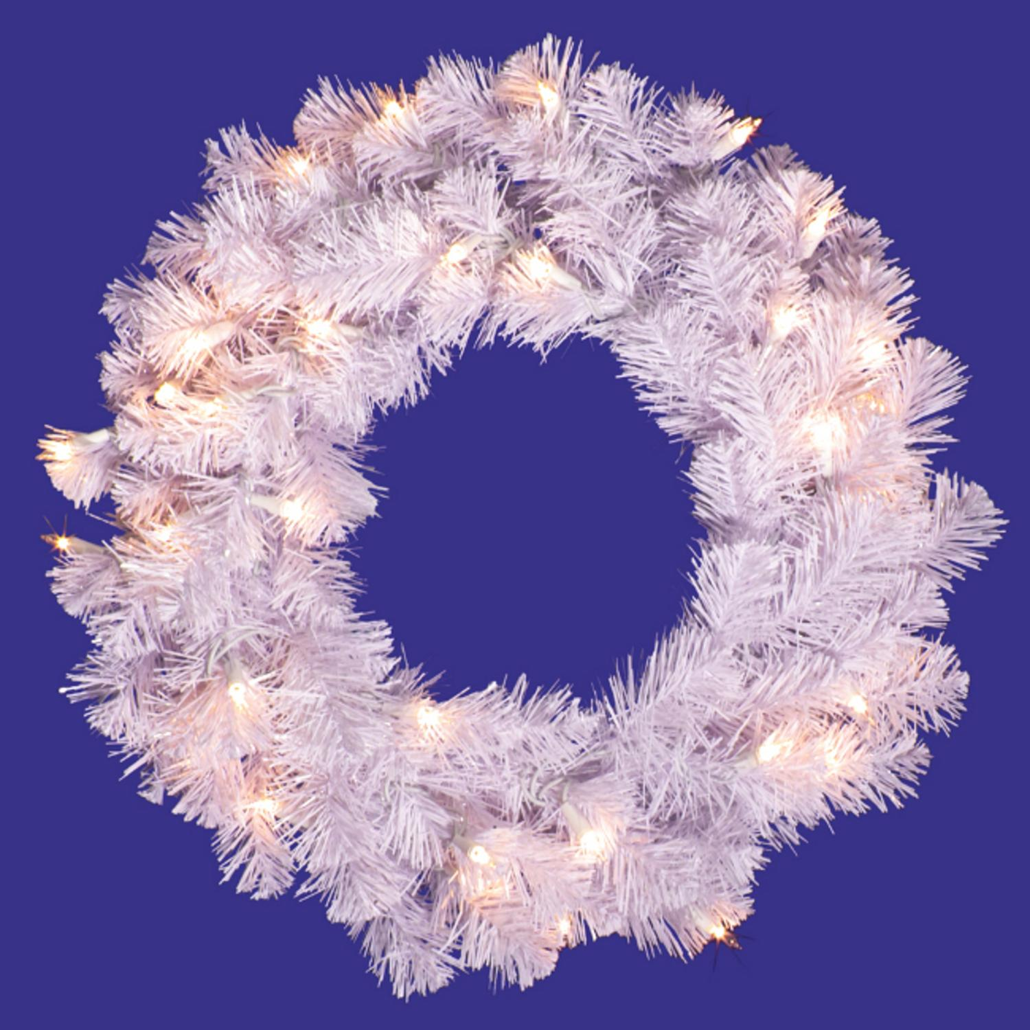"36"" Pre-Lit Crystal White Artificial Christmas Wreath - Warm White LED Lights"
