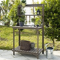 Coral Coast Outdoor Potting Bench with Hanging Grate - Dark Brown Stain