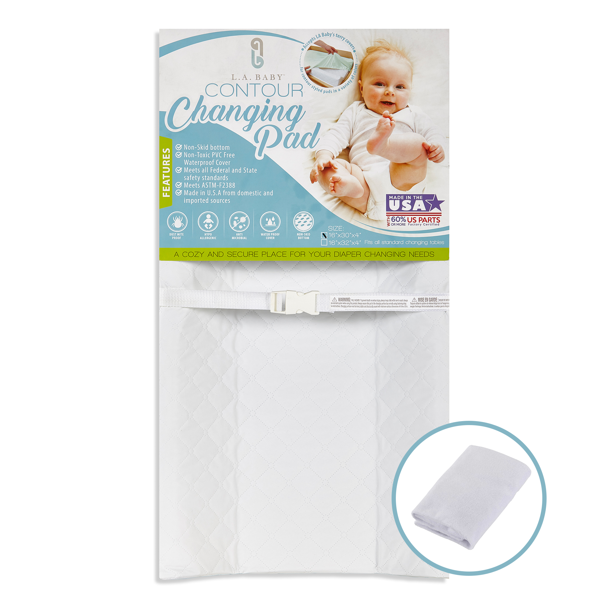 """LA Baby 30"""" Contour Waterproof Changing Pad with White Terry Cover"""
