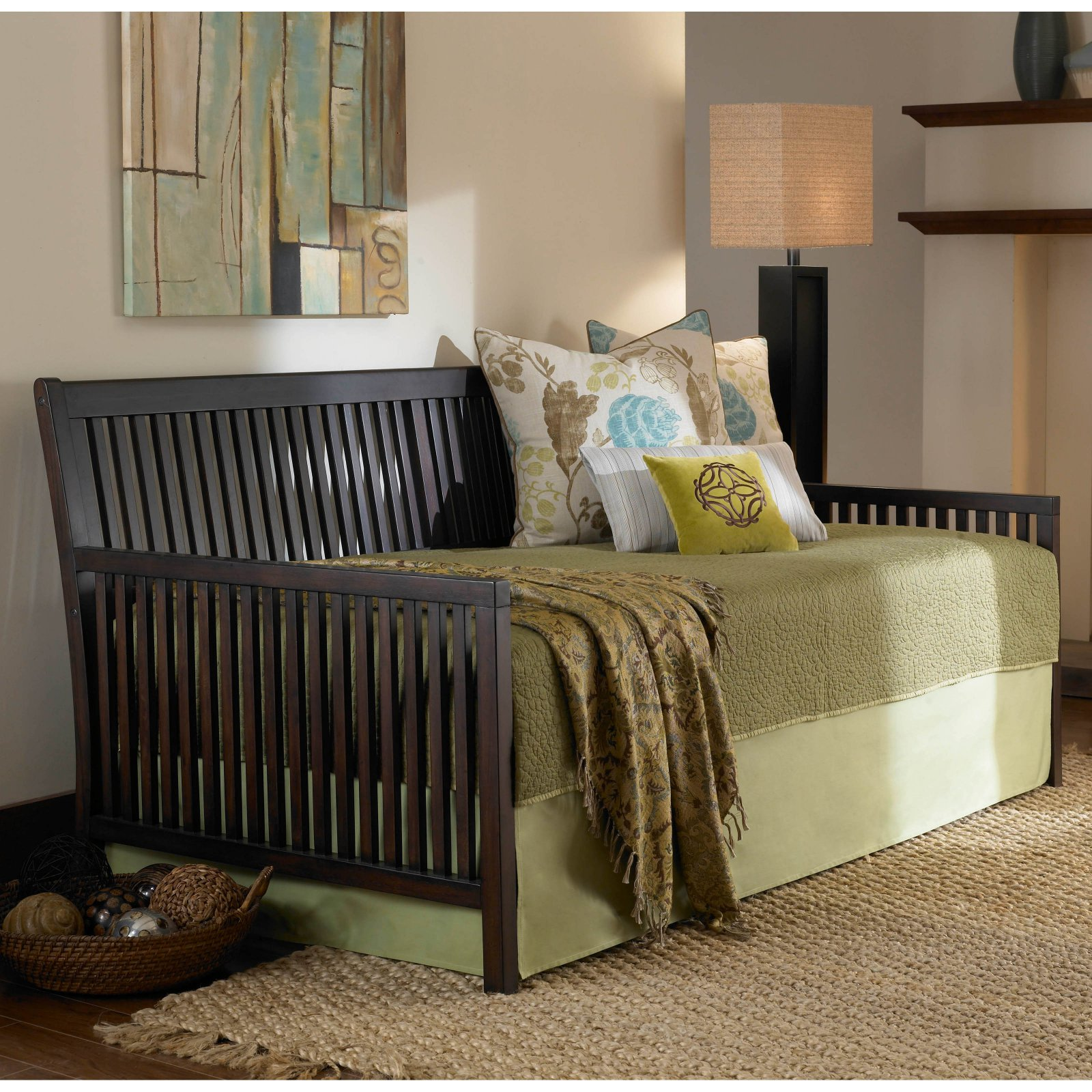mission complete wood daybed with link spring and trundle bed popup frame espresso