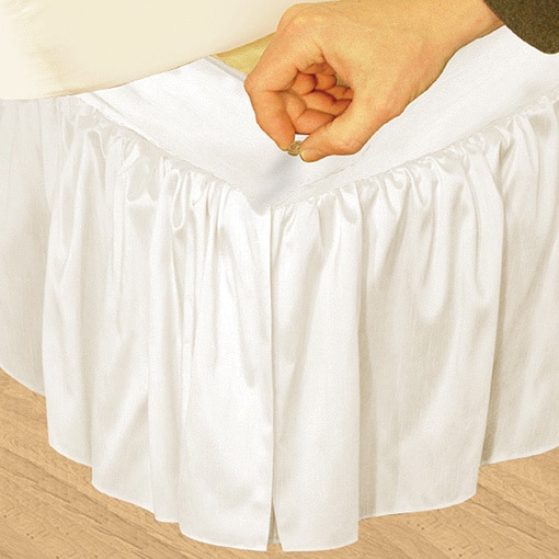Veratex 'Hike Up Your Skirt' Ruffled Faux Silk Adjustable 17-inch Drop California King-size Bedskirt Ivory