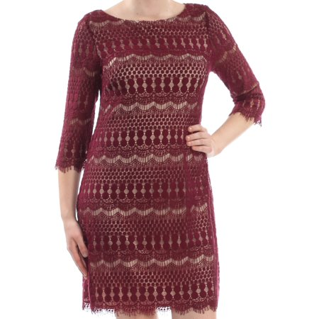 Jessica Rabbit Red Dress (JESSICA HOWARD Womens Maroon Embroidered Frayed Nordic 3/4 Sleeve Jewel Neck Above The Knee Shift Cocktail Dress  Size:)