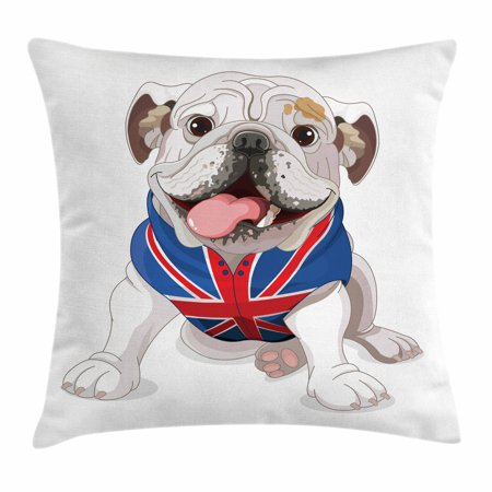Union Jack Cushions (English Bulldog Throw Pillow Cushion Cover, Happy Dog Wearing a Union Jack Vest Cartoon Style Animal Design, Decorative Square Accent Pillow Case, 16 X 16 Inches, Cream Navy Blue Red,)