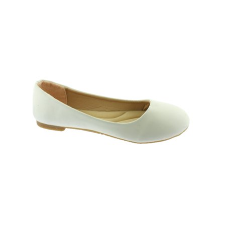 Girls White Rounded Toe Slip On Trendy Ballet Flats