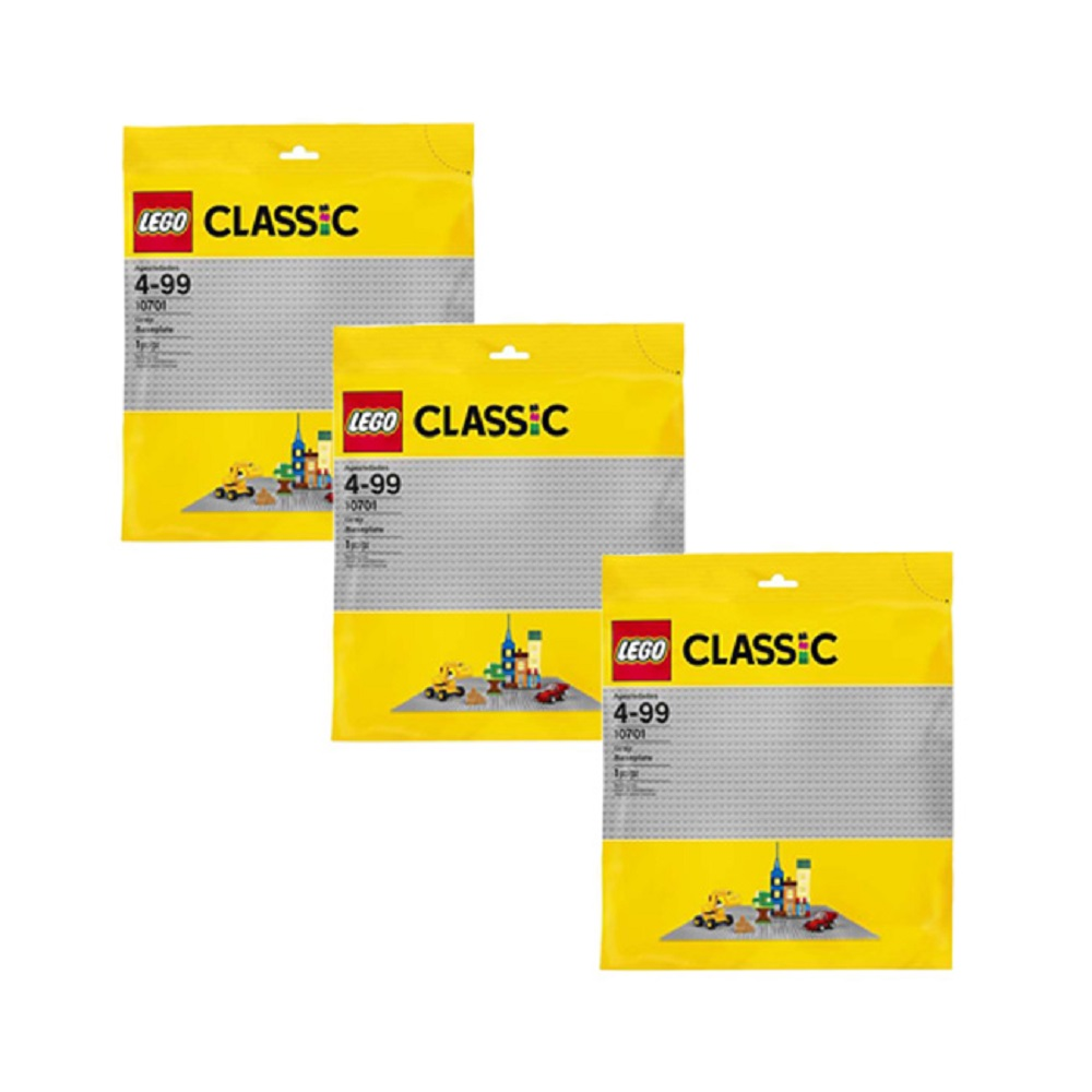 """Pack of Three LEGO Classic Base XL Building Plate 15"""" x 15"""" Platforms, Gray"""