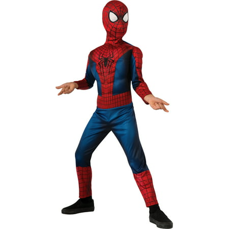 Boys Muscle Costume (Child's Boys Deluxe Marvel Amazing Spiderman Muscle Chest)