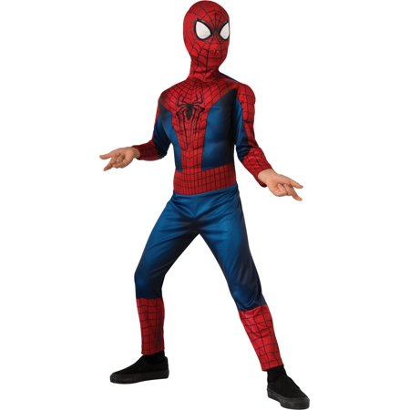 Marvel Spiderman Costume (Child's Boys Deluxe Marvel Amazing Spiderman Muscle Chest)