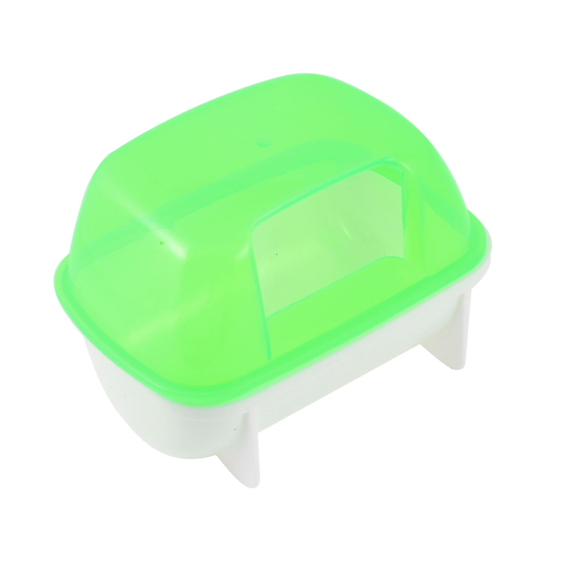 Green White Plastic Small Hamsters Bathing Sand Cage Pet Bathroom 12 x 9 x 9cm by