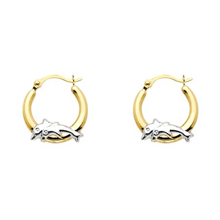 Solid 14K Yellow Gold Two Tone Dolphin Hoop (Yellow Gold Dolphin Earrings)