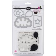 Sizzix Framelits Stamp and Die-Cut Set, Balloons & Cupcakes