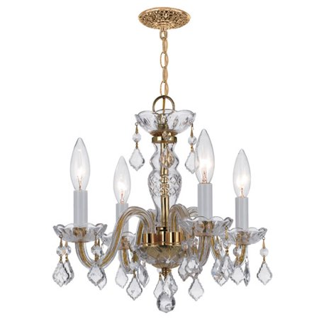 Crystorama Traditional Crystal 4 Light Clear Spectra Crystal Brass Mini Chandelier Collection Four Light Mini Chandelier