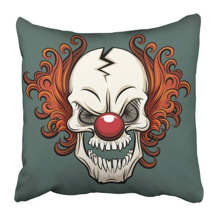 WOPOP Colorful Creepy Evil Scary Clown Halloween Monster Joker Character Mask Pillowcase 18x18 inch - Pillowcase Halloween Mask