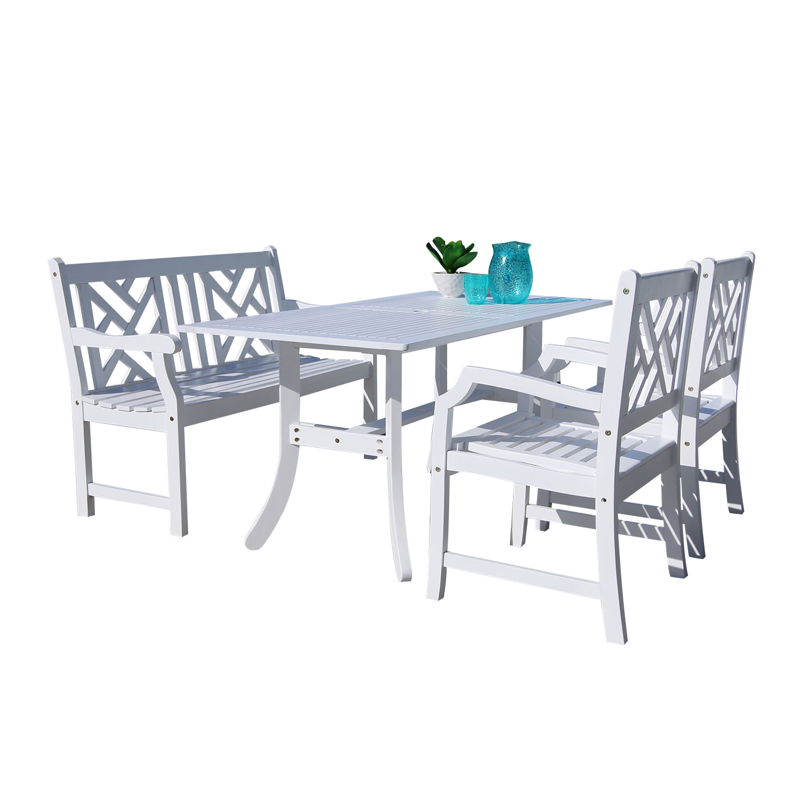 Vifah V1337SET20 Bradley Acacia Dining Set Including Bench, Chairs and Dining Table