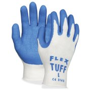 Mcr Safety Flextuff Dipped Latex Gloves - Gray - Latex - Heavy Duty - 12/pack (mpg9688xl)