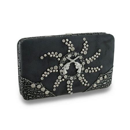 Zeckos - Leather Look Crossed Pistols Rhinestone Sunburst Studded Hard Case Wallet - (Shooting Head Wallet)