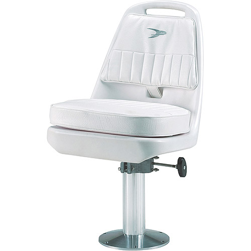 Wise Saltwater Offshore Pilot Chair with Pedestal, White