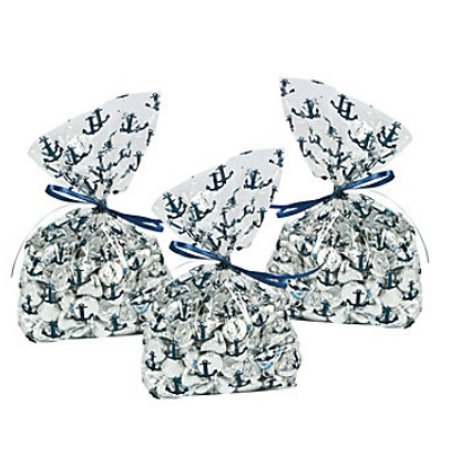 Nautical Themes For Parties (Nautical Party Cellophane Anchor Print Bags (12)