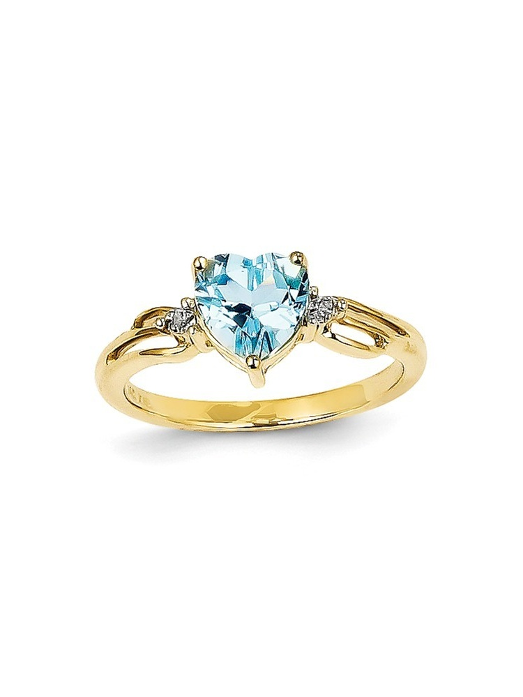 14k Diamond and Blue Topaz Heart Ring by Best Price Product