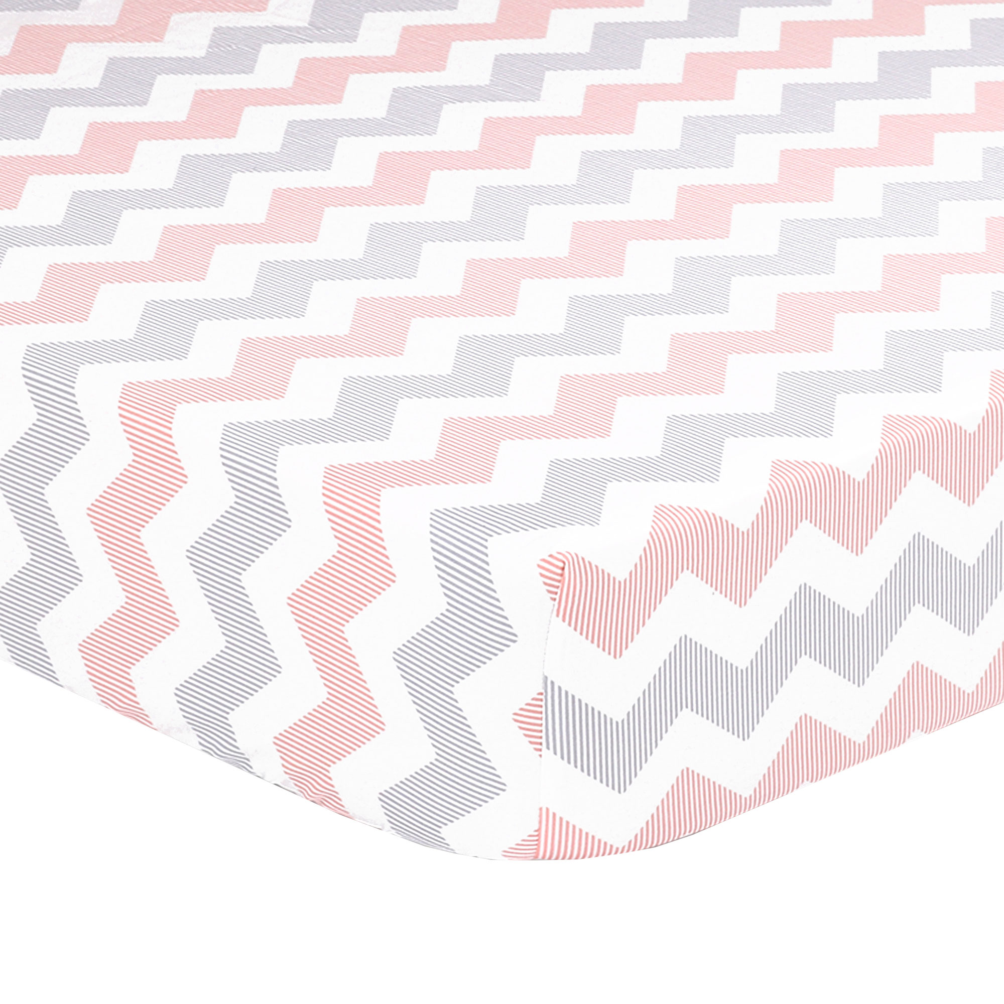 The Peanut Shell Baby Fitted Crib Sheet - Uptown Girl Coral Peach and Grey Chevron Zig Zag - 100% Cotton Sateen, Fits Standard 52 by 28 Inch Mattress