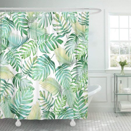 Palm Shower Curtain (ARTJIA Tropical Leaves of Monstera Philodendron and Palm in Light Green Yellow Color Tone Polyester Shower Curtain Bathroom Decor 66x72)