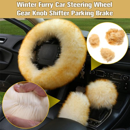 3PCS Fashion Wool Furry Car Steering Wheel + Gear Knob Shifter Parking Brake Cover Protector Set Car Accessories Luxury Decor Gift