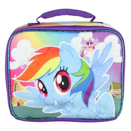 My Little Pony Soft Lunch Box Tote Lunch Bag With Fuzzy 3D Character Design (Rainbow Dash) - My Little Pony Party Tote Bag