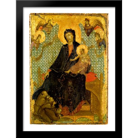 - Franciscan Madonna 28x38 Large Black Wood Framed Print Art by Duccio