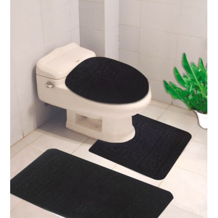 3PC GREEK DESIGN BLACK Design Bathroom Bath Mat Set Includes, 1 Contour Mat, 1 Lid Toilet Cover, 1 Bath Mat Ultra Absorbent with Anti-Slip Backings ( FOR STANDARD SIZE ONLY ) ()
