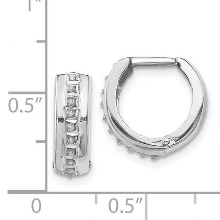 14K White Gold Diamond Fascination Round Huggy Hoop Earrings - image 1 de 2