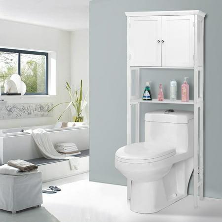 - Toilet Storage Space Saver Towel Rack Shelf Cabinet Bathroom