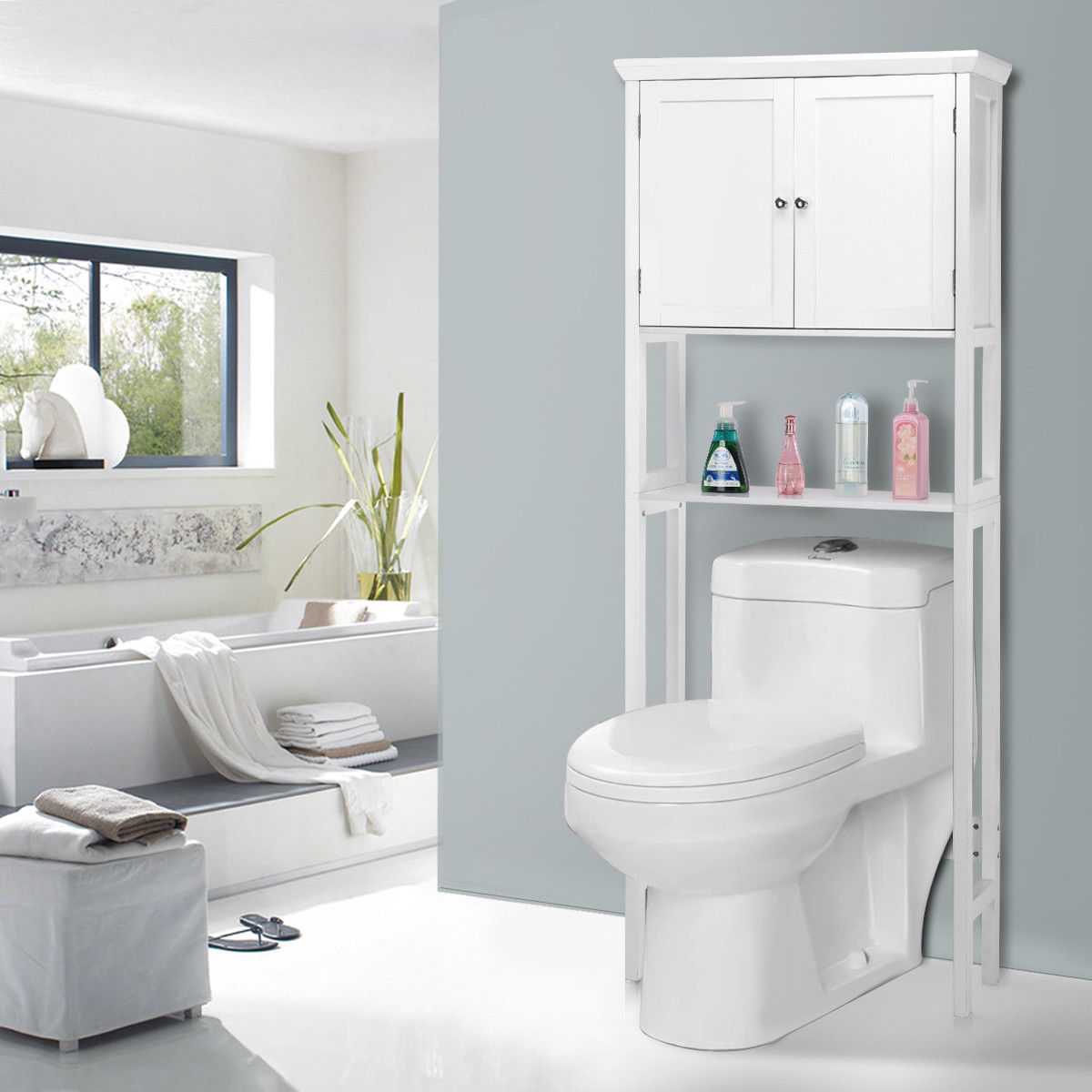 Toilet Storage Space Saver Towel Rack Shelf Cabinet Bathroom