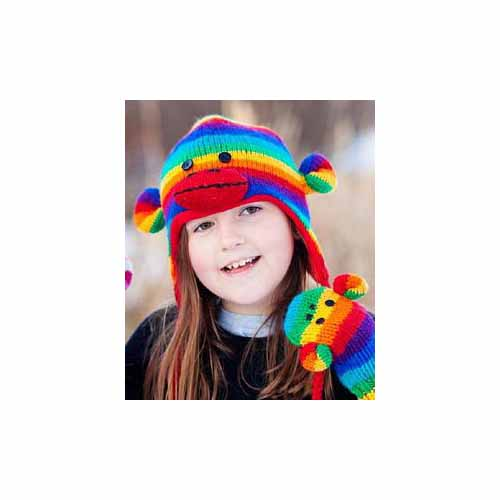 Kids Rainbow Striped Sock Monkey Pilot Hat by Knitwits - AK1709R