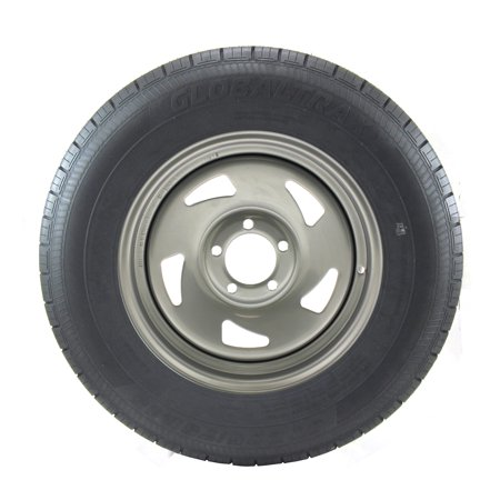 - ST205/75R15 GlobalTrax Trailer Tire LRC on 5 Bolt Silver Blade Wheel