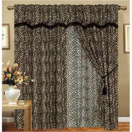 Animal Curtain Set (Leopard Animal Curtain Set w/ Valance/Sheer/Tassels )