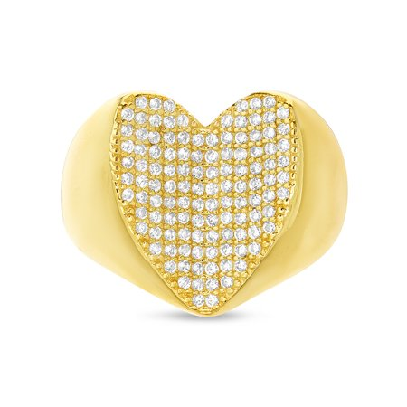 Chain Pave Ring - Cubic Zirconia Pave Concave Heart Ring in Yellow Gold Plated Sterling Silver