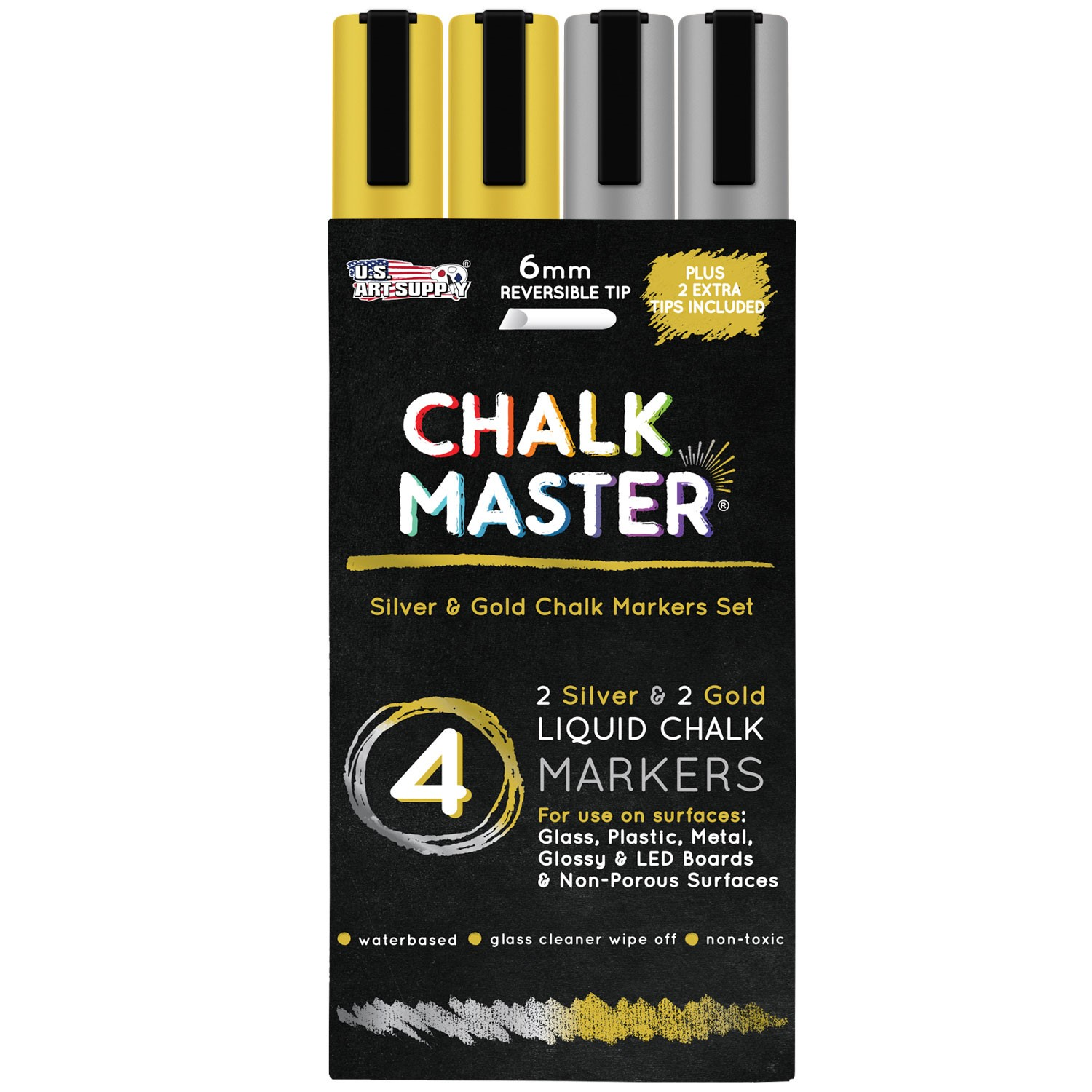 Chalkmaster 2 Gold & 2 Silver Colored 6mm Liquid Chalk Markers, Reversible Tips