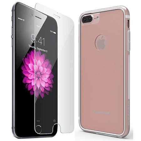 iPhone 8 PLUS Case, PureGear [Blush Rose Gold] GlassBak 360 Bumper Cover with Back/Rear Tempered Glass Panel [and BONUS Front Tempered Glass Screen Protector] for Apple iPhone 8 Plus, 7 Plus, 6