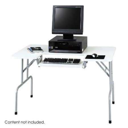 Safco Products 1935GR Folding Computer Table with Adjustable Keyboard Shelf, Gray