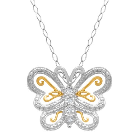 Butterfly Pendant Necklace with Diamonds in 22K Gold-Plated Sterling Silver