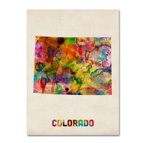 "Trademark Fine Art ""Colorado Map"" Canvas Wall Art by Michael Tompsett"