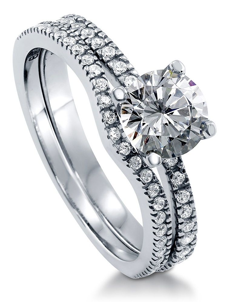 Rhodium Plated Sterling Silver Cubic Zirconia CZ Solitaire Promise Ring Set Size 10