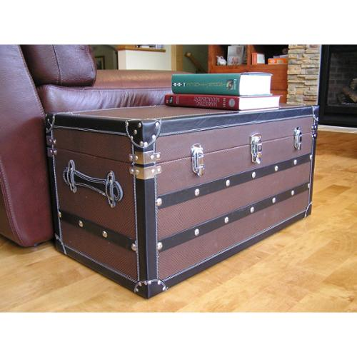Styled Shopping Inc Decorative Sterling Medium Wood Steamer Trunk Wooden Treasure Hope Chest